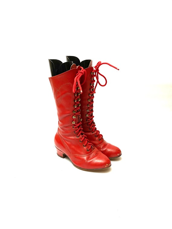 Vintage 1960s Red Granny Boots // Knee High Leathe