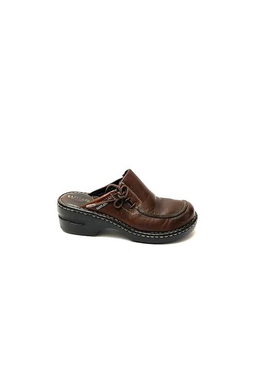 Vintage 1990s Slip On Mules // Chunky Brown Leath… - image 1