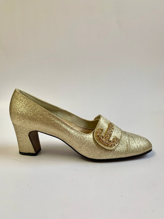 Vintage 1960s Gold Lamé Heels // Fancy Formal Rhin