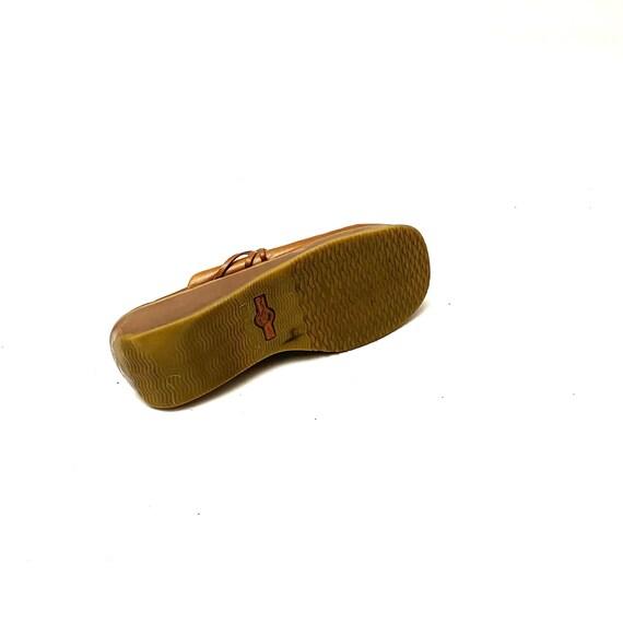 Vintage 1990s Tan Leather Clogs // Slip On Wedge … - image 7