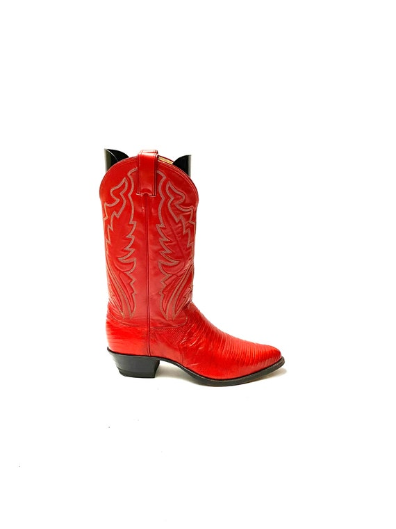 Vintage 1990s Red Cowboy Boots // Mens Lizard Skin