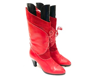 Vintage 1980s Cherry Red Granny Boots // Leather and Suede Lace Up Witch Boots Size 9 // European Vintage
