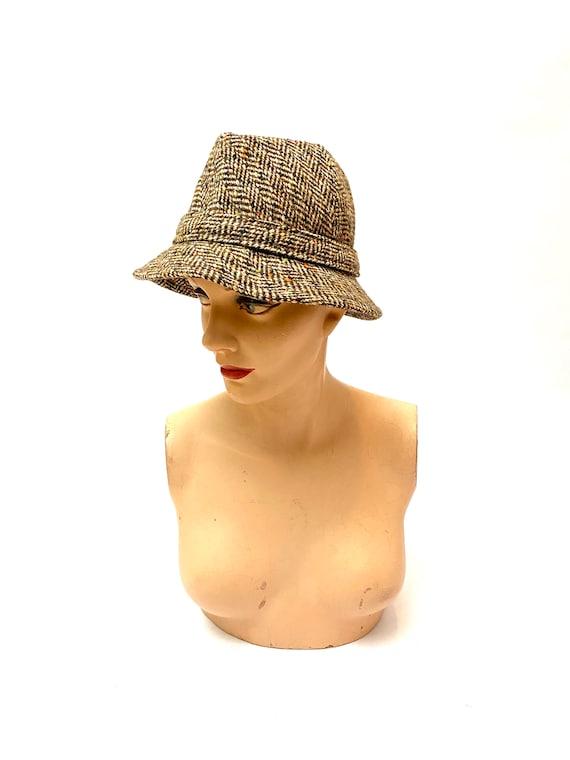 Vintage 1970s Unisex Halston Hat // Wool Tweed Be… - image 2