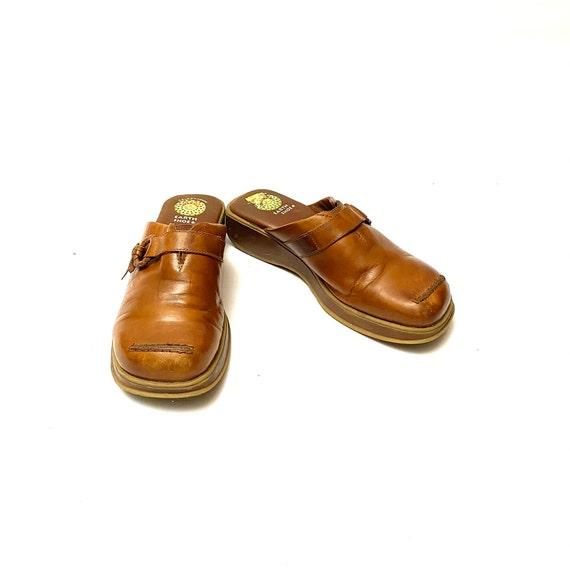 Vintage 1990s Tan Leather Clogs // Slip On Wedge … - image 3