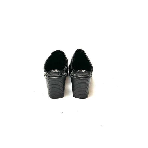 Vintage 1990s Mules // Black Leather Slip On Back… - image 7