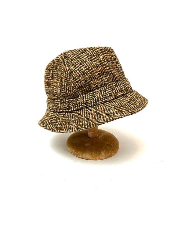 Vintage 1970s Unisex Halston Hat // Wool Tweed Bel