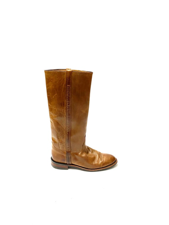 Vintage 1970s Riding Boots // Brown Leather Knee H