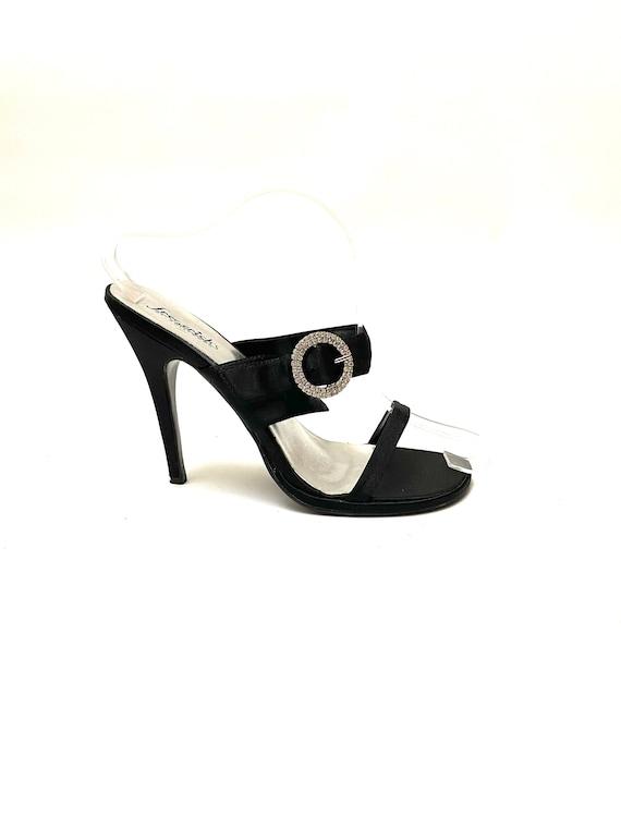 Vintage 1990s Rhinestone Stilettos // Black Satin