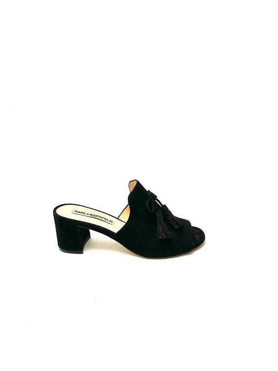 Vintage 1990s Karl Lagerfeld Shoes // Black Suede… - image 1