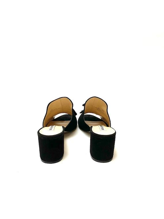 Vintage 1990s Karl Lagerfeld Shoes // Black Suede… - image 7