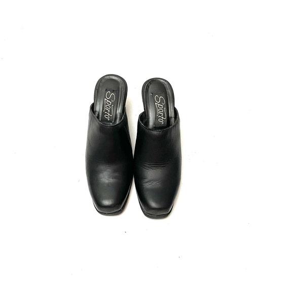 Vintage 1990s Mules // Black Leather Slip On Back… - image 3