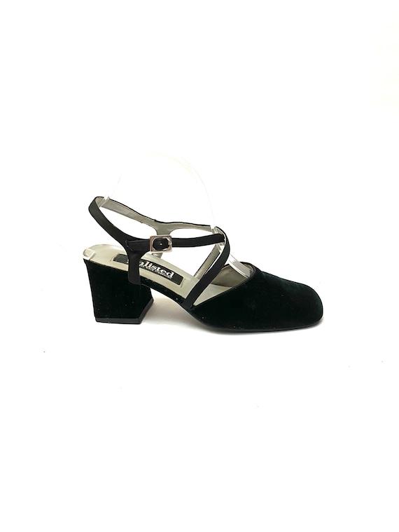 Vintage 1990s Velvet Strappy Heels // Black Formal