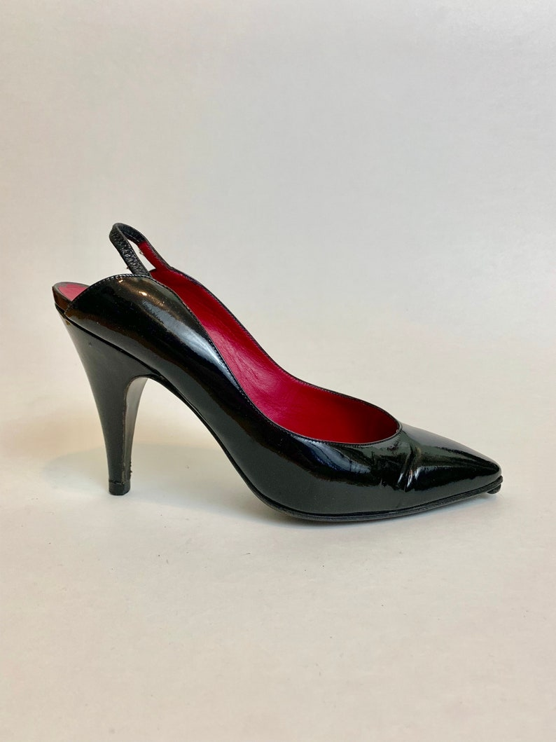 99c11516750 Vintage Donna Karan Slingback Stiletto Heels // 1990s Designer Black Label  Patent Leather Heels Size 6.5 // Made in Italy