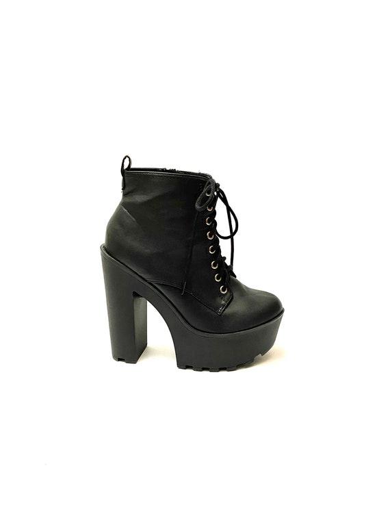 Vintage 1990s Platform Booties // Black Vegan Lace