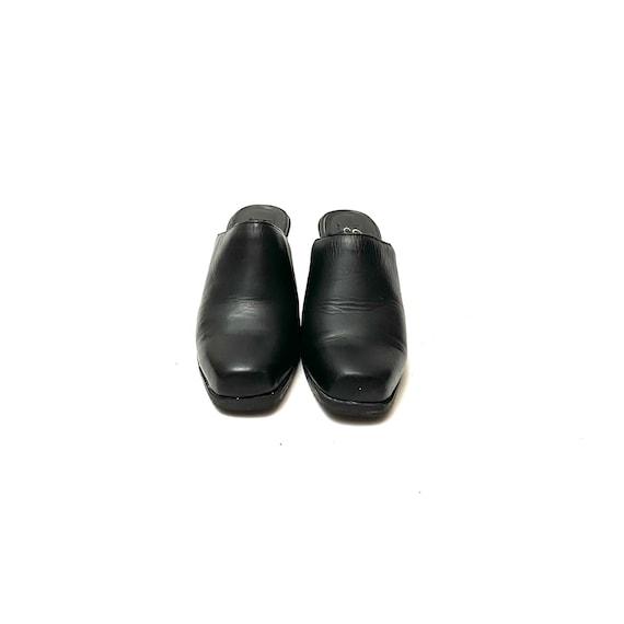 Vintage 1990s Mules // Black Leather Slip On Back… - image 2