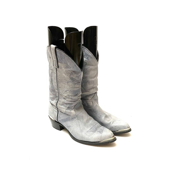 Vintage 1980s Slouchy Boots // Gray Leather Mid C… - image 5