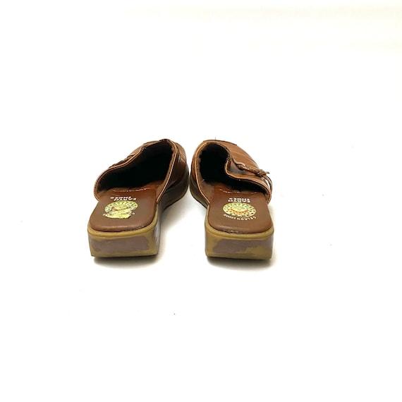 Vintage 1990s Tan Leather Clogs // Slip On Wedge … - image 8