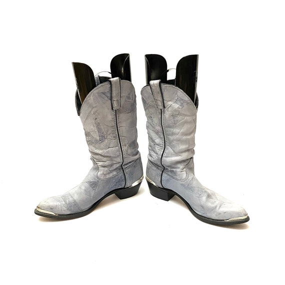 Vintage 1980s Slouchy Boots // Gray Leather Mid C… - image 4