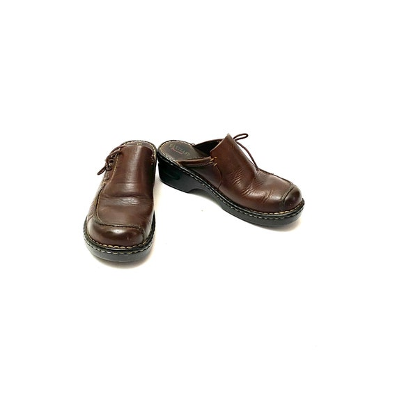 Vintage 1990s Slip On Mules // Chunky Brown Leath… - image 4