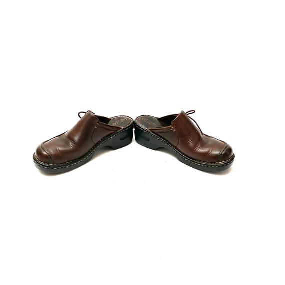 Vintage 1990s Slip On Mules // Chunky Brown Leath… - image 5