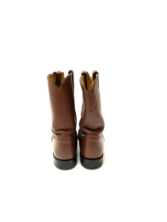 Vintage 1980s Justin Boots // Mens Chocolate Brow… - image 7