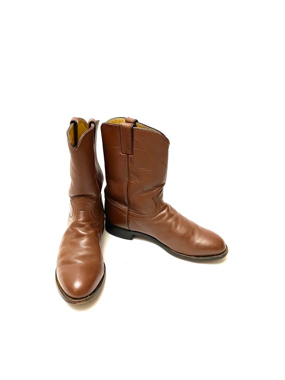 Vintage 1980s Justin Boots // Mens Chocolate Brow… - image 4