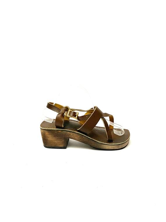 Vintage 1970s Deadstock Wooden Platform Sandals //