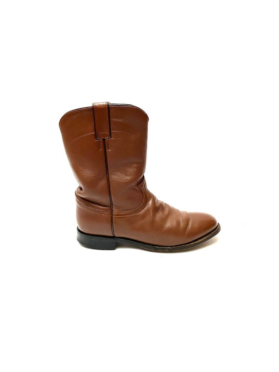 Vintage 1980s Justin Boots // Mens Chocolate Brow… - image 1