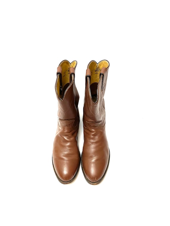 Vintage 1980s Justin Boots // Mens Chocolate Brow… - image 3