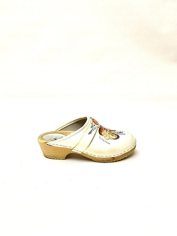 Vintage 1960s Swedish Wooden Clogs // Handpainted