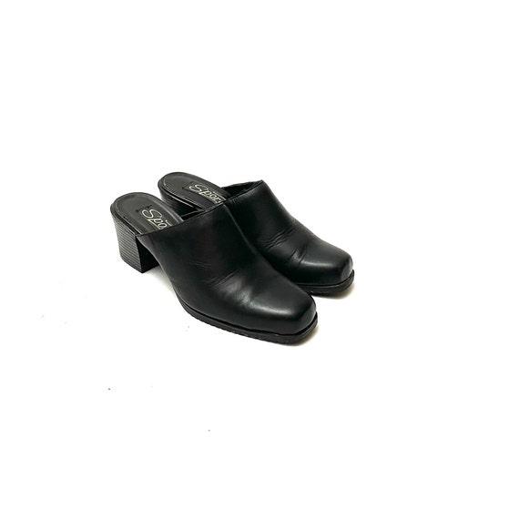 Vintage 1990s Mules // Black Leather Slip On Back… - image 6