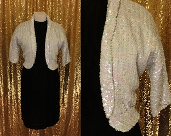 Iridescent Sequin Jacket // Vintage 1960s Wedding Bridal Separates // White Sequin Bolero // Alternative Wedding