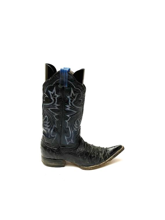 Vintage 1970s Womens Ostrich Leather Cowboy Boots