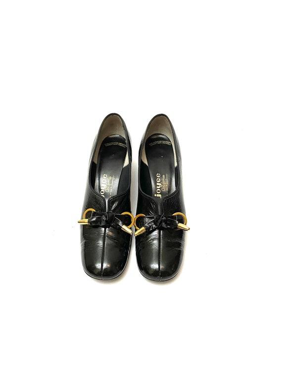 Vintage 1960s Pilgrim Shoes // Black Patent Leathe