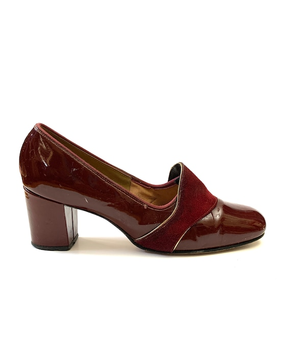 Vintage 1960s Mod Heels // Oxblood Patent Leather
