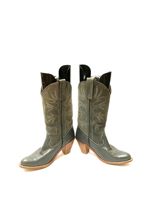 Vintage 1980s Frye Cowboy Boots // Gray Leather W… - image 4