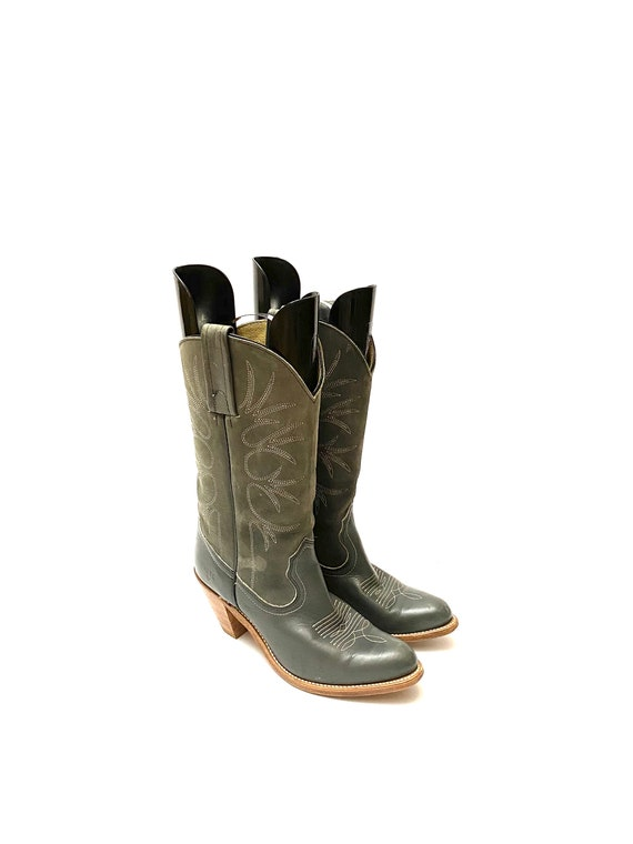 Vintage 1980s Frye Cowboy Boots // Gray Leather W… - image 5