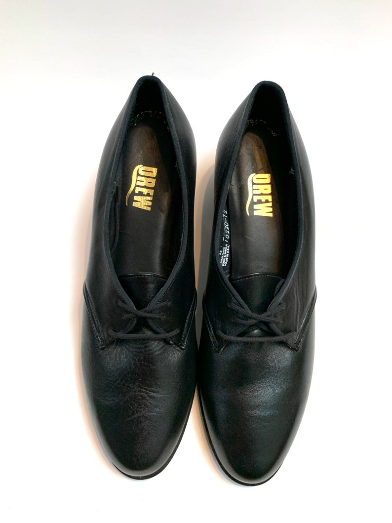Vintage 1970s Deadstock Oxfords  Black Leather Lace Up Shoes  NWOT New Unworn Vintage