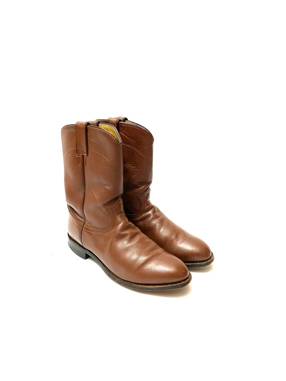 Vintage 1980s Justin Boots // Mens Chocolate Brow… - image 6