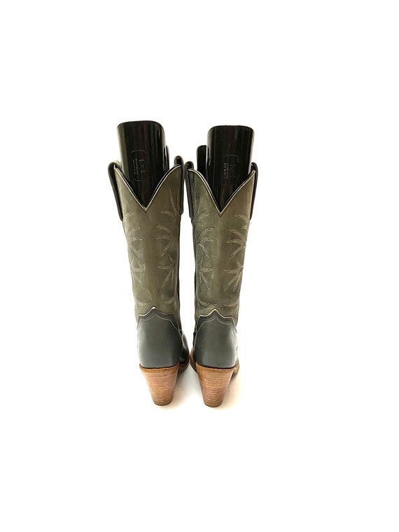 Vintage 1980s Frye Cowboy Boots // Gray Leather W… - image 6