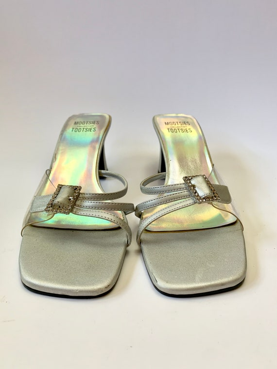 Vintage 1990s Kitten Heels // Silver Rhinestone Fo