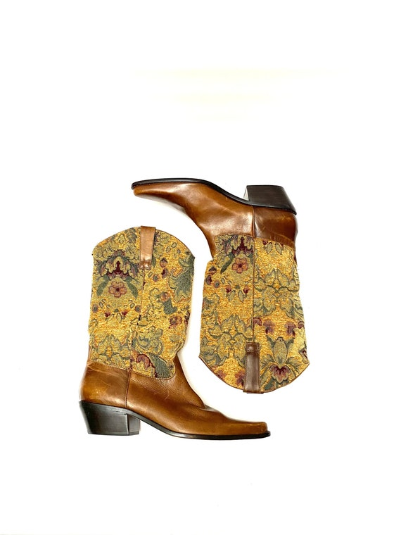 Vintage 1980s Tapestry Cowboy Boots // Brown Leath