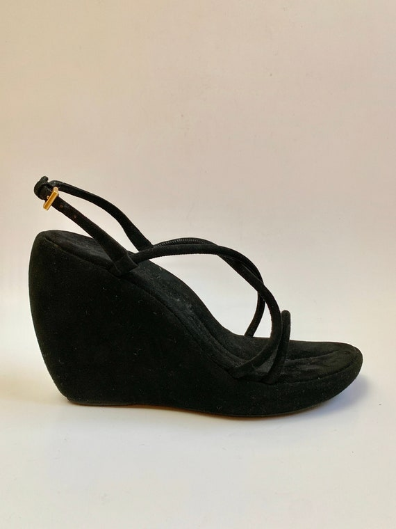 Vintage 1990s Prada Wedges // Black Suede Strappy