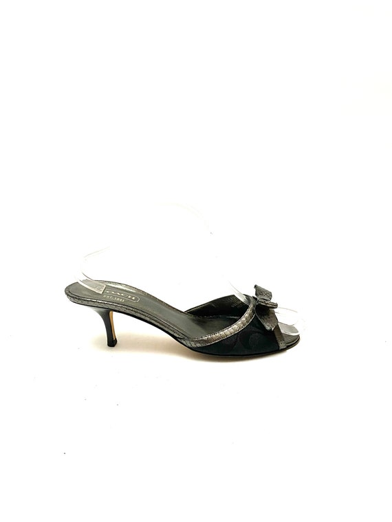 Vintage 1990s Polly Style Heels // Silver Embossed
