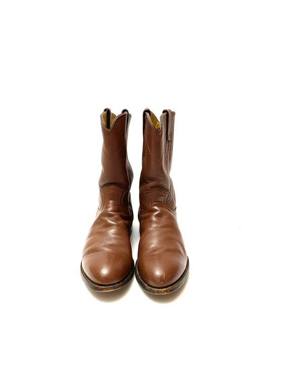 Vintage 1980s Justin Boots // Mens Chocolate Brow… - image 2