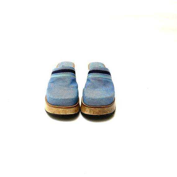 Vintage 1990s Denim Wooden Clogs // Blue Platform… - image 2