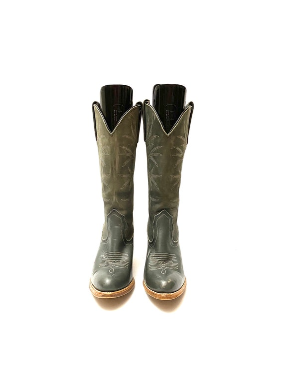 Vintage 1980s Frye Cowboy Boots // Gray Leather W… - image 2