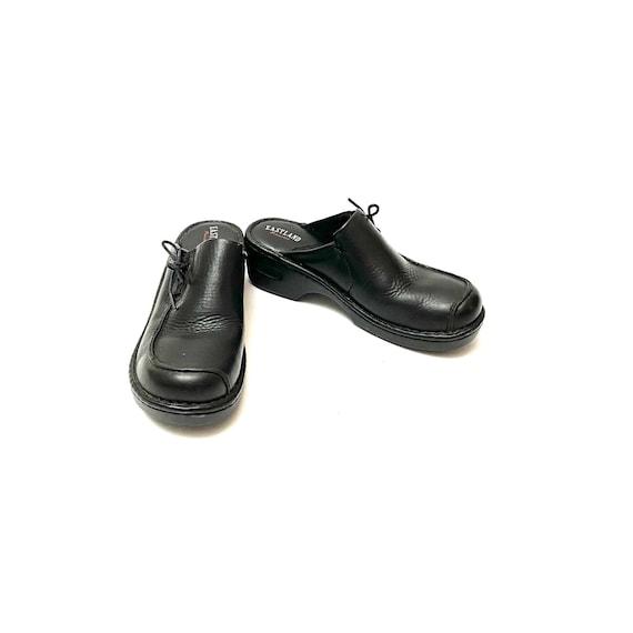 Vintage 1990s Slip On Mules // Black Leather Lace… - image 4