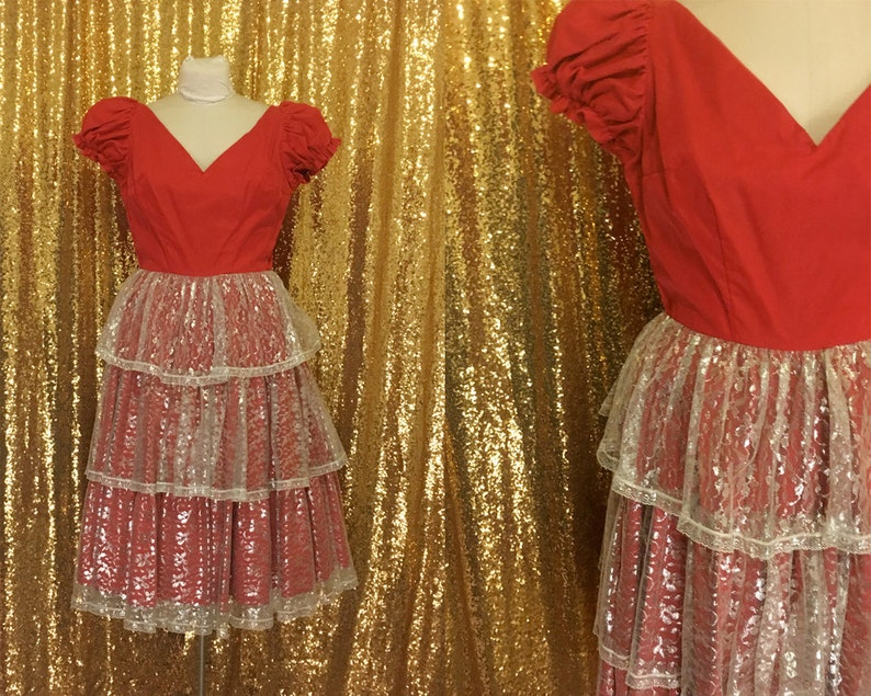 62306326625c Vintage Red Country Western Dress // Square Dance Party Dress | Etsy