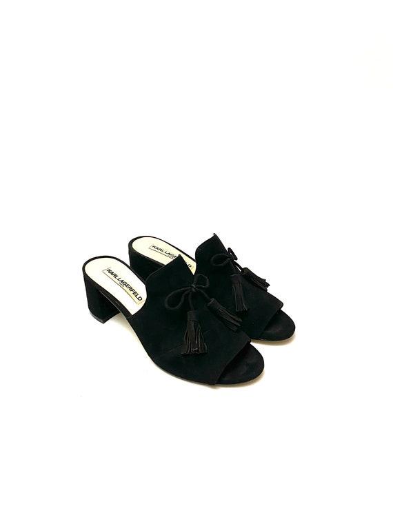 Vintage 1990s Karl Lagerfeld Shoes // Black Suede… - image 6